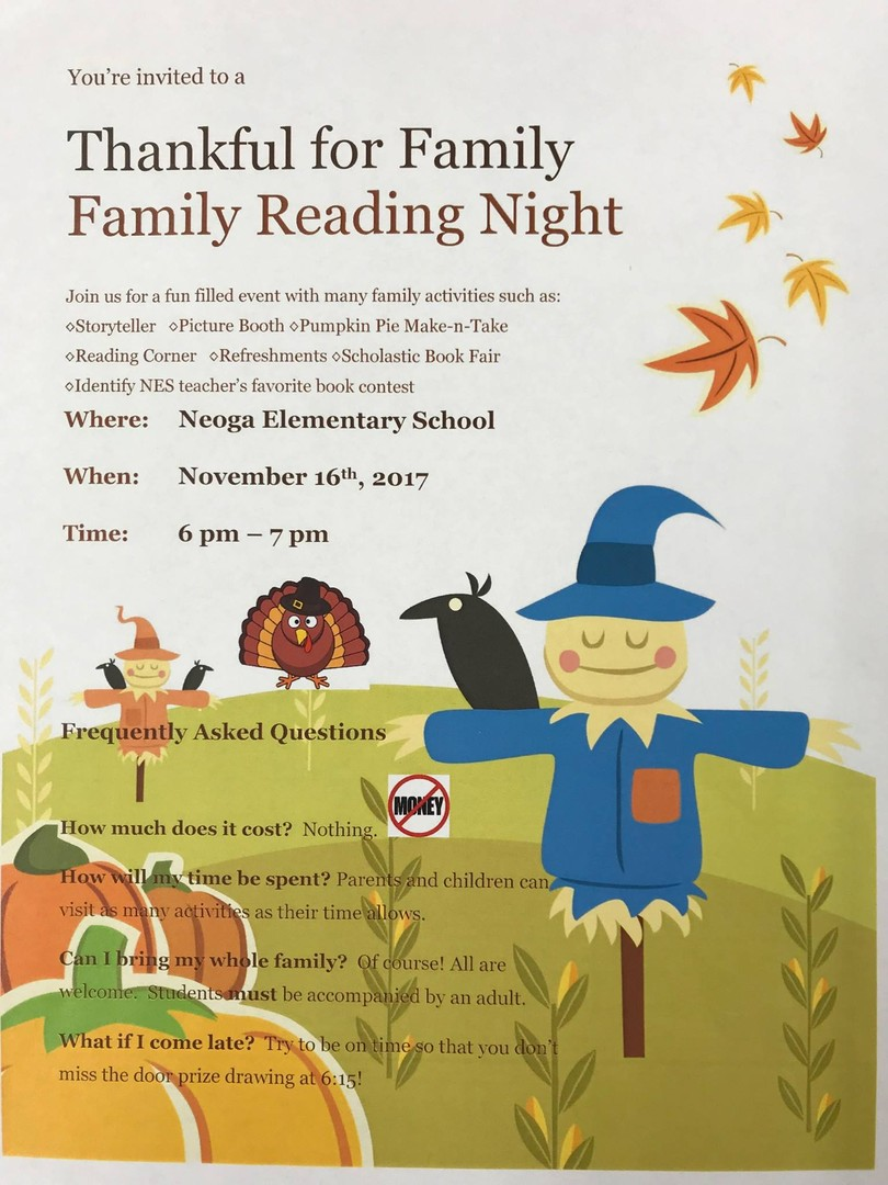 Neoga Cusd 3 Thankful For Family Family Reading Night
